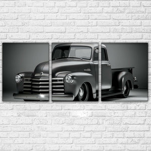 3 Panel Chevy GMC 53 54 truck Lowered Lowrider Black White Wall Art Canvas : cheap canvas prints wall paintings pictures