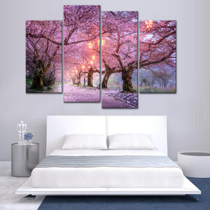 Pink Cherry Blossoms Tree Street Night Wall Art Canvas Panel Print For Living Room - ASH Wall Decor - Wall Art Canvas Panel Print Painting