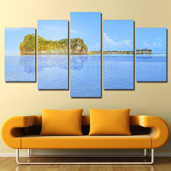 Sea Ocean Guitar Island Reflection Inverted Image Wall Picture on Canvas - ASH Wall Decor - Wall Art Picture Painting Canvas Living Room