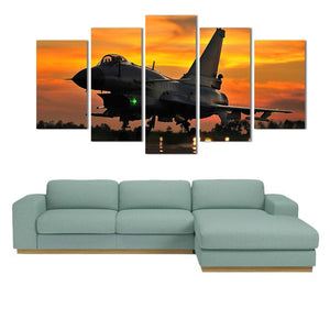 5 Piece Wall Art Painting Military Jet Aviation Plane Sunset Wall Art Print Canv : cheap canvas prints wall paintings pictures
