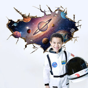 2 styles - 3D space ship earth wall sticker for boys, girls, kids diy bedroom : cheap canvas prints wall paintings pictures