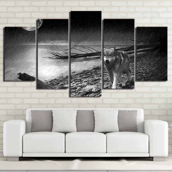 Wolf Print Back and White river poster wall art print on canvas framed unframed - ASH Wall Decor - Wall Art Picture Painting Canvas Living Room