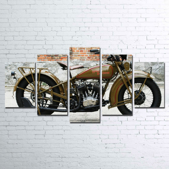 1930's Harley-Davidson Wall art on canvas 5 panel framed unframed - ASH Wall Decor - Wall Art Canvas Panel Print Painting