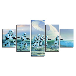 5 Pieces Movie Star Wars StormTrooper Wall Art Panel Picture Print Poster : cheap canvas prints wall paintings pictures