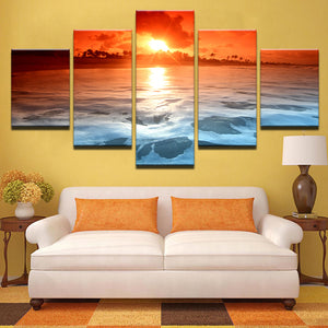 Sunset Glow Reflection Sea Ocean The Sky Red Sea Waves Seascape Framed UNframed - ASH Wall Decor - Wall Art Canvas Panel Print Painting