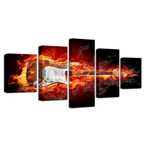 5 Panel Burning Guitar Panel Wall Art Canvas Picture Rock Electric Music Poster : cheap canvas prints wall paintings pictures
