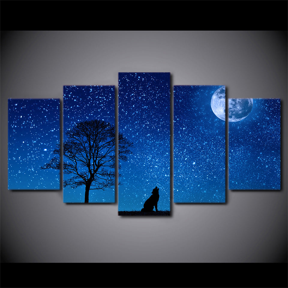 howling wolf tree blue moon stars sky panel wall art on canvas print
