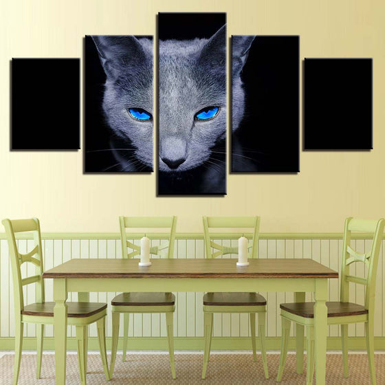 Gray Cat Blue Eyes Kitten Wall Art Print on Canvas Framed Unframed - ASH Wall Decor - Wall Art Picture Painting Canvas Living Room