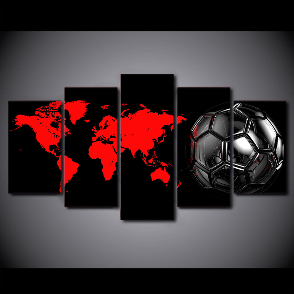 Beautiful Soccer Football Ball   Map North And South America Wall Art On Canvas Print  Pict