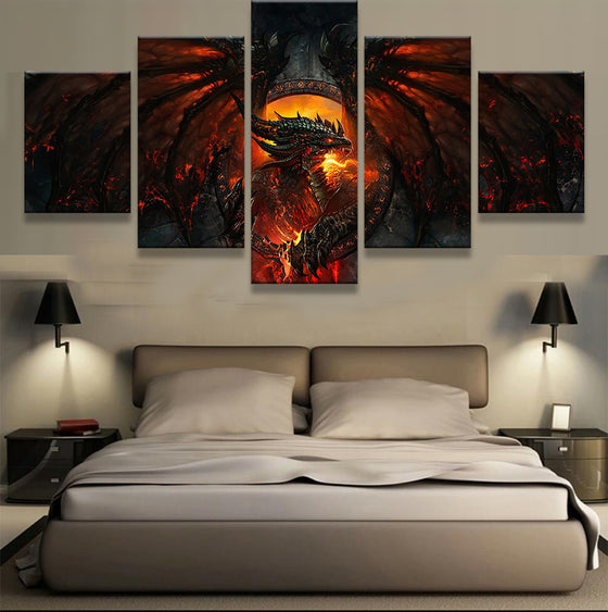 World of Warcraft Deathwing Dragon Wings Tail Fire Game  Canvas Wall Art