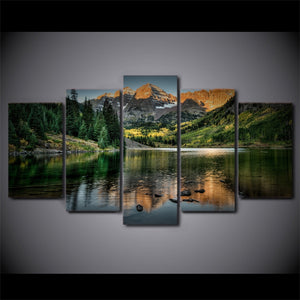 Colorado Ozero Mountain Landscape Reflection Decor Wall Art on Canvas Print Fram : cheap canvas prints wall paintings pictures