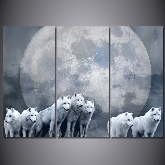 3 Piece Canvas Art Print Pack of Wolves Wolf Moon Wall Decor - ASH Wall Decor - Wall Art Picture Painting Canvas Living Room