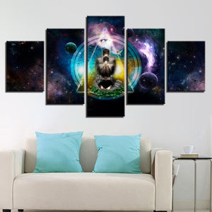 5 Panel OM Yoga Symbol Poster Buddha Buddhism Abstract Wall Art Print Canvas : cheap canvas prints wall paintings pictures