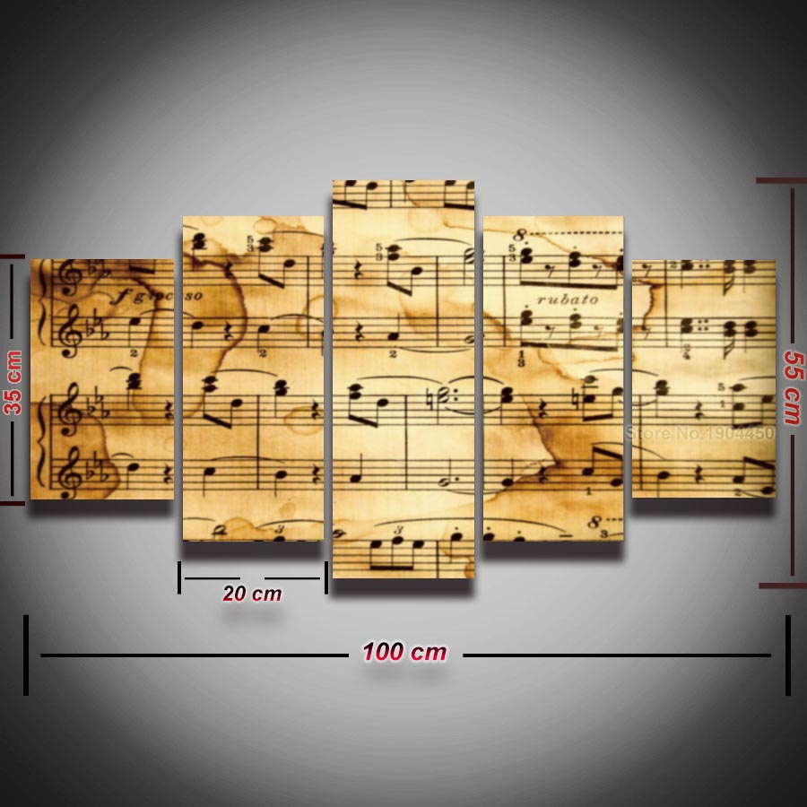 Music notes canvas panel wall art canvas home decor living room ...
