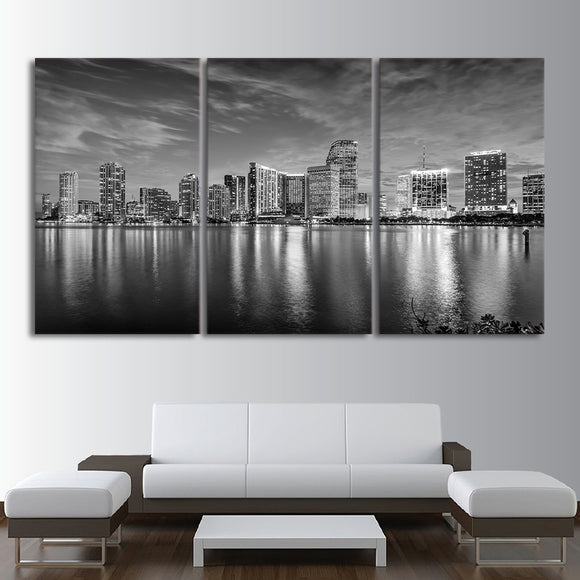 Miami Cityscape Landscape Wall Art Print Black and White Wall Decor - ASH Wall Decor - Wall Art Picture Painting Canvas Living Room