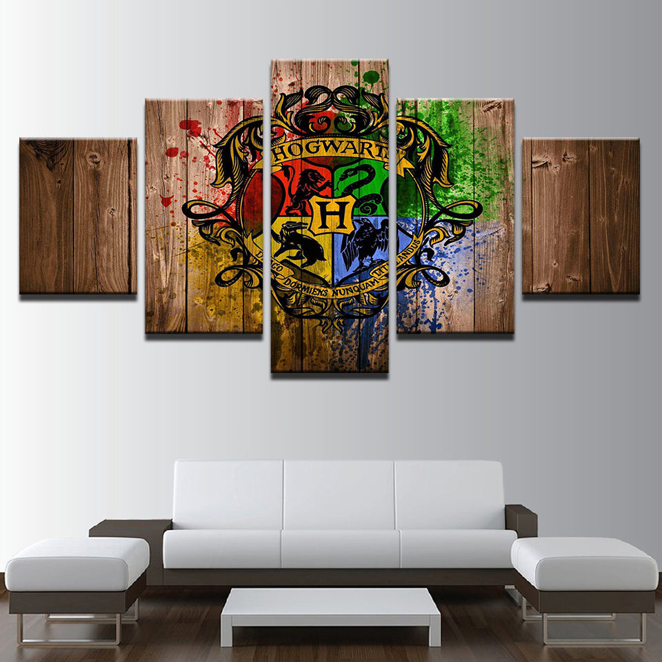 5 Panel Hogwarts Houses Harry Potter Canvas Frame Panel Wall Art For ...