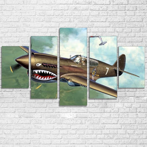 P40 Warhawk Military Plane Nose Art Canvas Wall Art Poster Living Room Aircraft - ASH Wall Decor - Wall Art Canvas Panel Print Painting