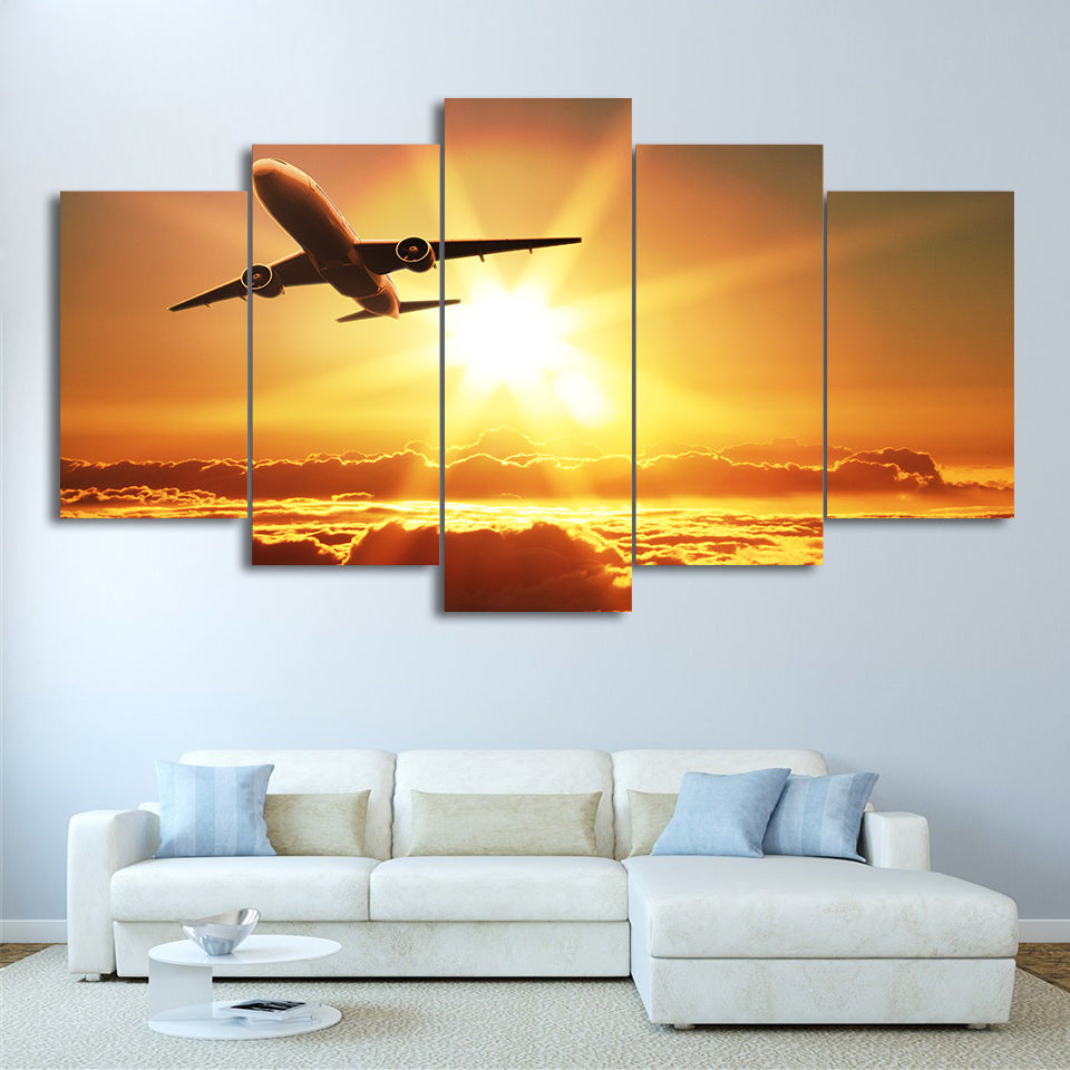 5 panel wall art on canvas Jet Airplane Sunset Print Picture - ASH ...