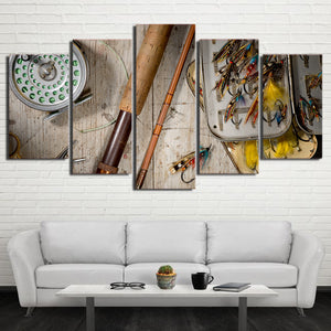 5 Panel Fishing Rod Lures Hooks Modular Canvas Wall Art Panel Print Picture : cheap canvas prints wall paintings pictures