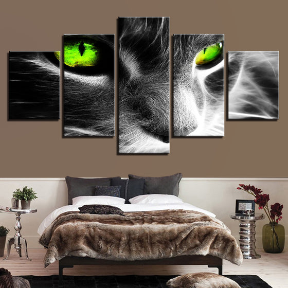 Gray Green Eyed Cat Wall Art on Canvas Framed Unframed - ASH Wall Decor - Wall Art Picture Painting Canvas Living Room