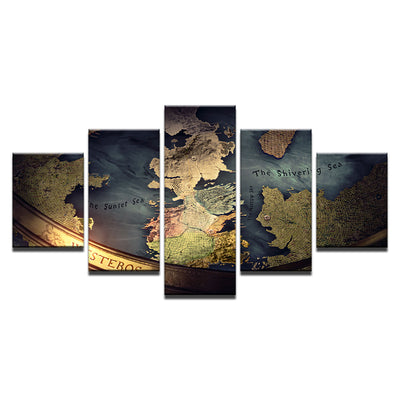 5 Panel Game Of Thrones World Map Print Mediterranean Wall Art on ...