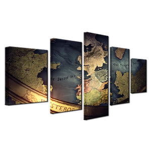 5 Panel Game Of Thrones World Map Print Mediterranean Wall Art on Canvas Framed : cheap canvas prints wall paintings pictures