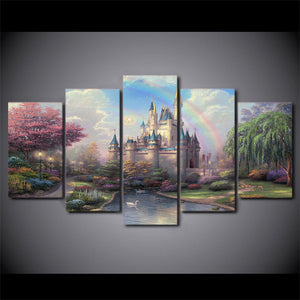 Thomas Kinkade Fairy Fantasy Castle Landscape Wall Art on Canvas Prints - 13 scenes - ASH Wall Decor - Wall Art Canvas Panel Print Painting