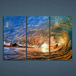Huge Ocean Wave at Sunset Wall Art Home Decor Panel Print Framed UNframed - ASH Wall Decor - Wall Art Canvas Panel Print Painting