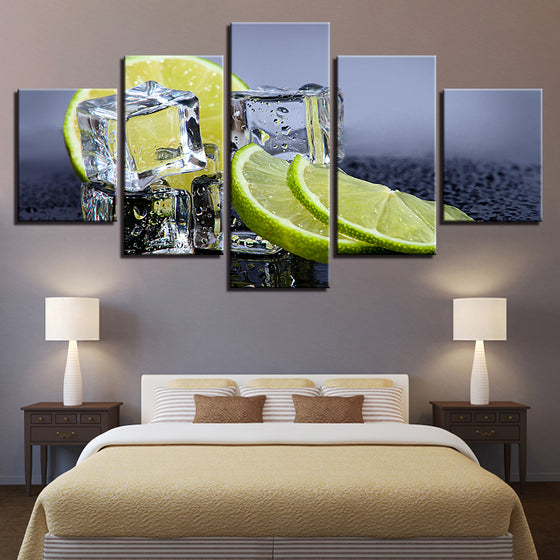 Fruit Lemon Ice Cubes Kitchen Restaurant Wall Art on Canvas Print