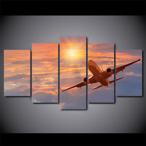 5 Pieces Canvas Art Print Sunset Airplane Poster Sunset Cloud Wall Picture : cheap canvas prints wall paintings pictures