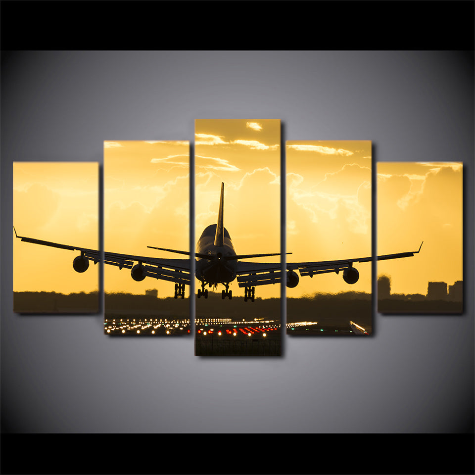 5 piece Golden Sunset Jet Airplane Wall Art on Canvas Print Framed ...