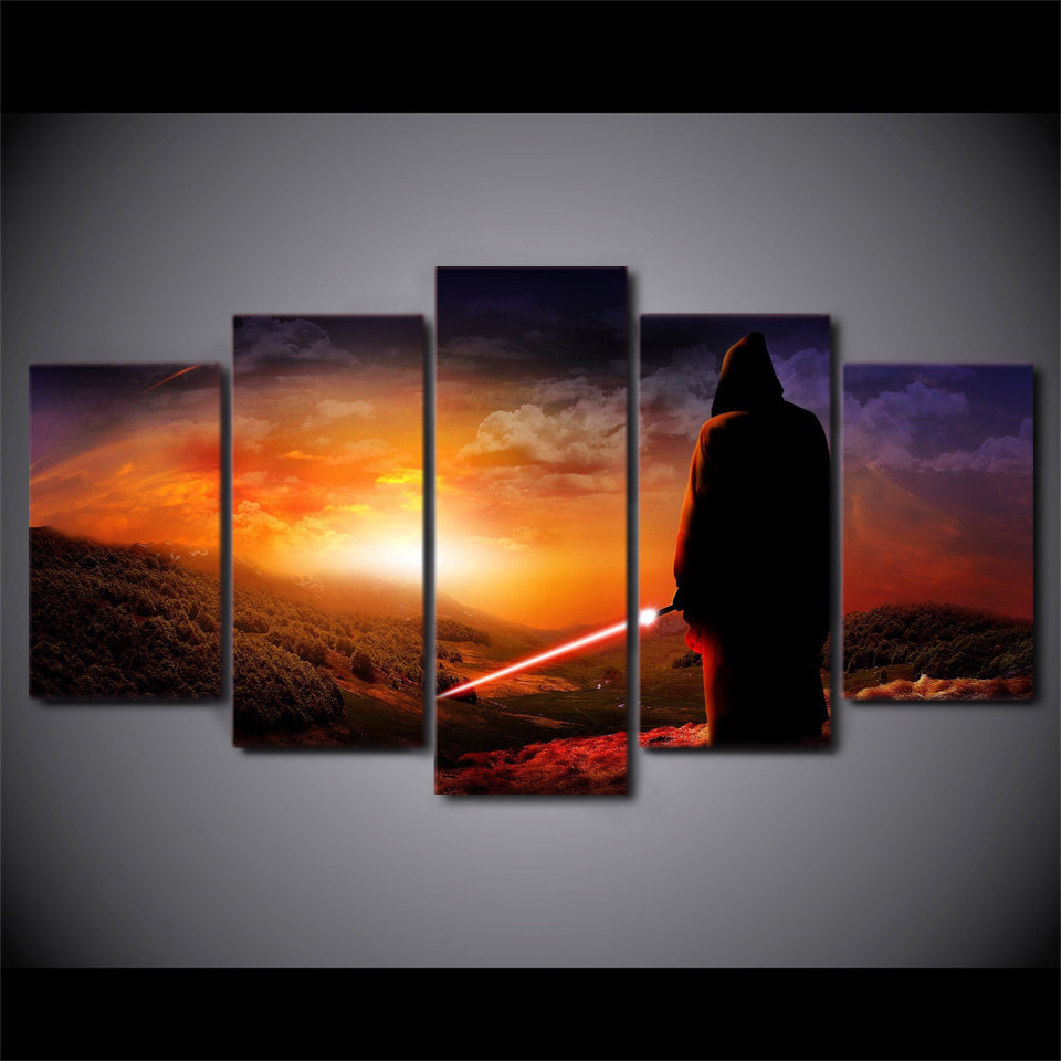 Star Wars Wall Art Print Sunset Mountains Light Saber Canvas Panel Print    ASH Wall Decor ...