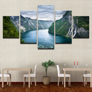 Green Mountain And River Wall Art Canvas Panel Poster Print Natural Landscape Pr : cheap canvas prints wall paintings pictures