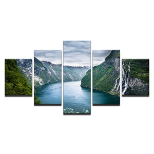 Green Mountain And River Wall Art Canvas Panel Poster Print Natural Landscape Pr - ASH Wall Decor - Wall Art Canvas Panel Print Painting