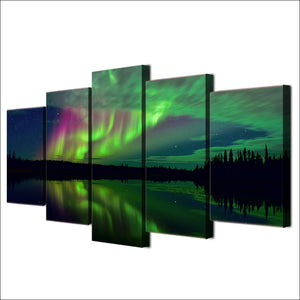 Aurora Lake Shadow Night Landscape HD Printed Panel Print On Canvas Posters : cheap canvas prints wall paintings pictures