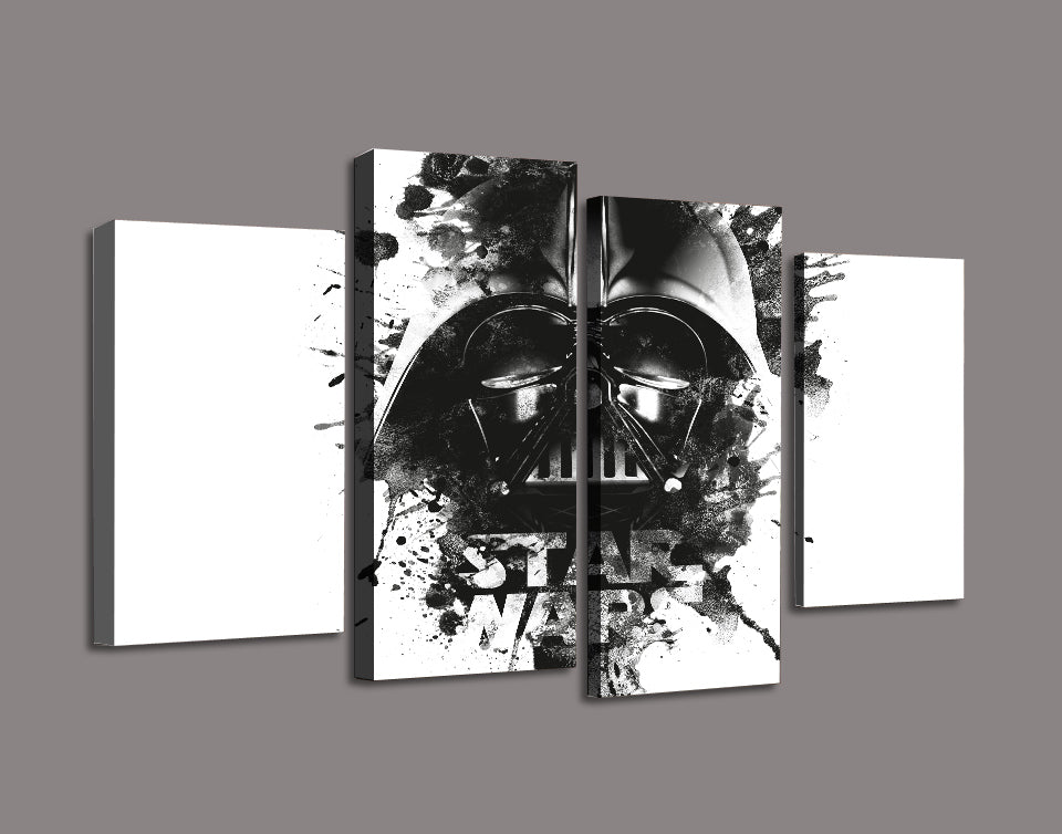 Star wars darth vader sketch style with lettering black and white 4 panel print ash