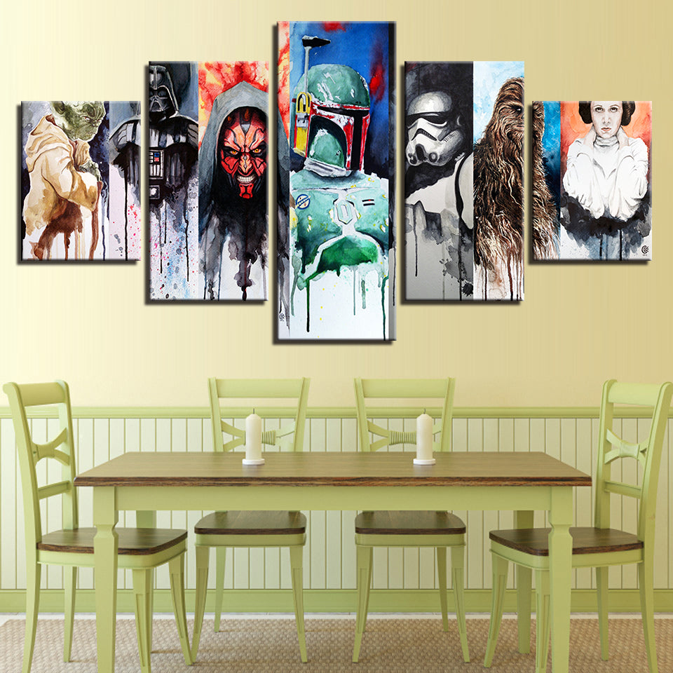 Star Wars Yoda Darth Maul Vader Stormtrooper Lia Chewbacca Abstract ...
