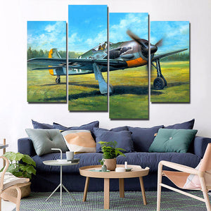 Military vintage airplane plane take-off on green grass wall art on canvas - ASH Wall Decor - Wall Art Canvas Panel Print Painting