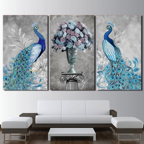 3 Panel Animal Elegant Peacock Blue Rose Flowers Floral Wall Art Canvas Panel Print - ASH Wall Decor - Wall Art Canvas Panel Print Painting
