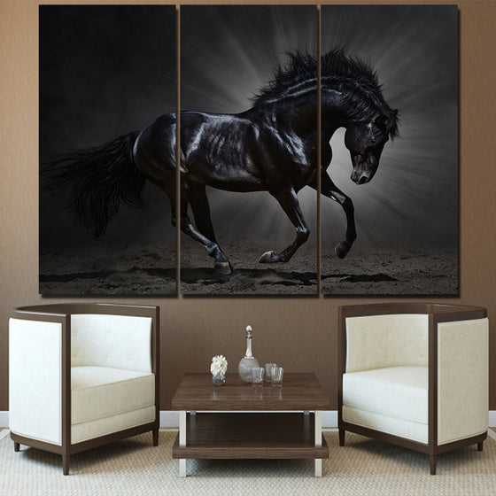 Running galloping black horse wall art on canvas - ASH Wall Decor - Wall Art Picture Painting Canvas Living Room