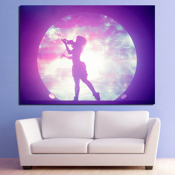 Girl playing violin guitar with moon sky background wall art print on canvas - ASH Wall Decor - Wall Art Picture Painting Canvas Living Room