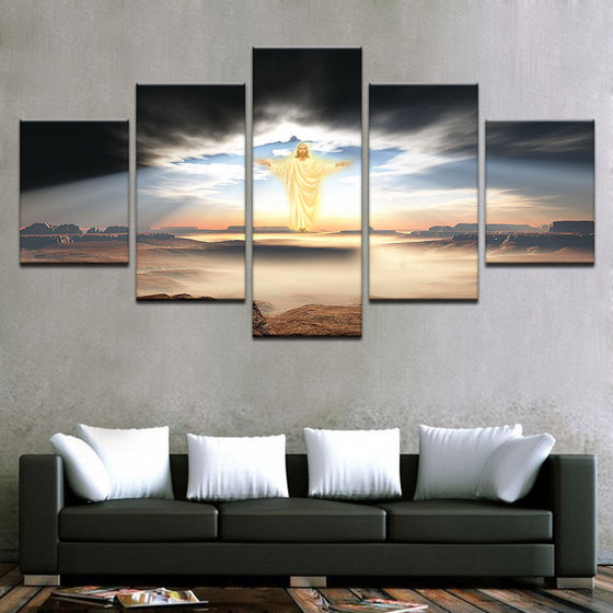 5 Panel Jesus Is Coming Religion Wall Art Panel Print Picture Framed UNframed - ASH Wall Decor - Wall Art Canvas Panel Print Painting