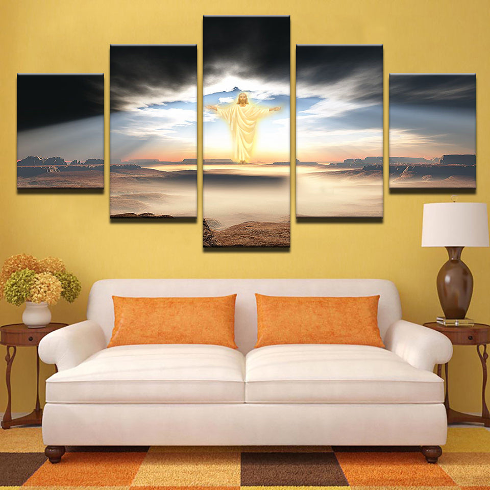 5 Panel Jesus Is Coming Religion Wall Art Panel Print Picture Framed ...