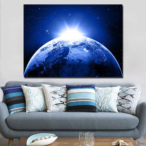 Earth planet stars space sunlight wall art canvas print poster framed unframed : cheap canvas prints wall paintings pictures
