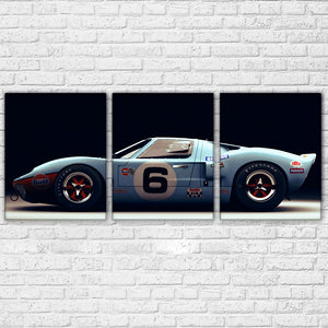3 Panel Ford GT40 Sports Car Supercar Wall Art Racing Picture Canvas Panel Print : cheap canvas prints wall paintings pictures