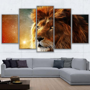 5 Pcs Panel Mystic Lion Canvas Paintings Abstract Animal Wall Art Print Canvas : cheap canvas prints wall paintings pictures