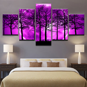 5 Pieces Purple Moon Night Psychedelic Forest Painting Wall Art Trees : cheap canvas prints wall paintings pictures