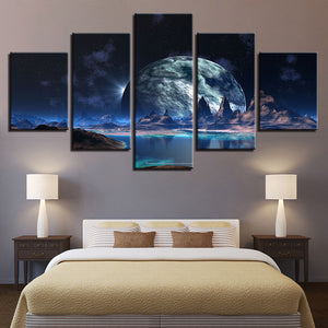 5 Panel Lunar Stars Planet Sky Mountain Lake Wall Art Canvas Panel Print : cheap canvas prints wall paintings pictures