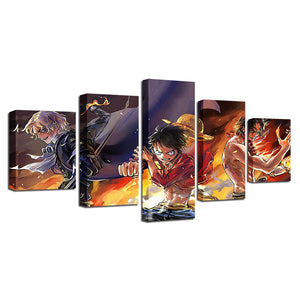 5 Pieces Cartoon Canvas Panel Print HD Prints Anime Characters Picture