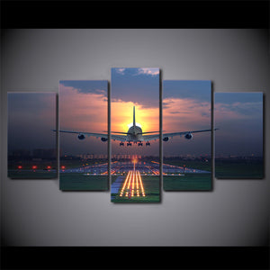 Sunset A380 Jet Airplane Runway Landing at Sunset 5 Panel Wall Art on Canvas : cheap canvas prints wall paintings pictures